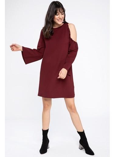 DeFacto Omuz Detaylı Elbise Bordo